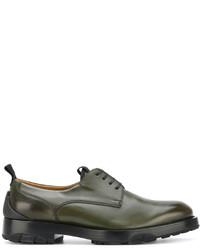 Chaussures richelieu en cuir olive Salvatore Ferragamo