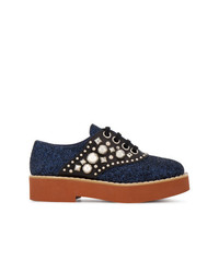 Chaussures richelieu en cuir ornées bleu marine Miu Miu