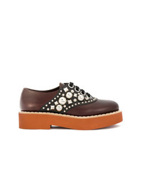 Chaussures richelieu en cuir ornées marron Miu Miu