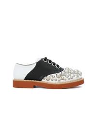 Chaussures richelieu en cuir ornées multicolores Miu Miu