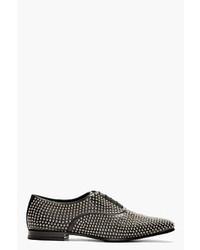 Chaussures richelieu en cuir ornées noires Saint Laurent