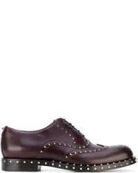 Chaussures richelieu en cuir pourpre foncé Valentino