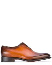 Chaussures richelieu en cuir tabac Santoni