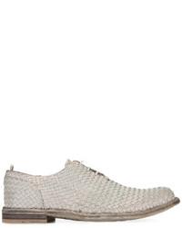 Chaussures richelieu en cuir tressées grises Officine Creative