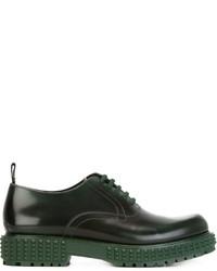 Chaussures richelieu en cuir vert foncé Valentino