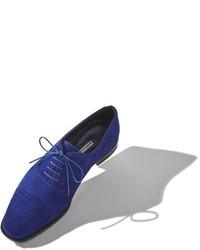 Chaussures richelieu en daim bleu marine Manolo Blahnik