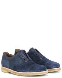 Chaussures richelieu en daim bleu marine Pépé