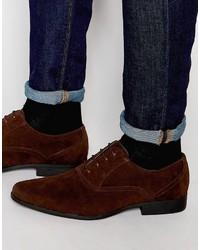 Chaussures richelieu en daim brunes foncées Asos