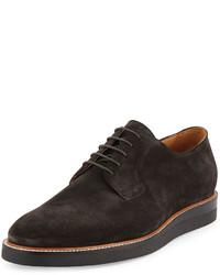 Chaussures richelieu en daim gris foncé