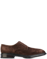 Chaussures richelieu en daim marron foncé Salvatore Ferragamo