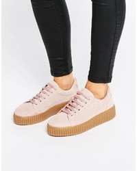 Chaussures richelieu en daim roses