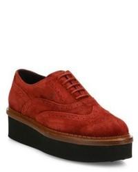 Chaussures richelieu en daim rouges
