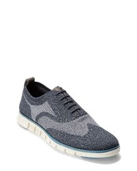 Chaussures richelieu en toile bleu marine