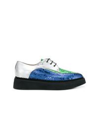 Chaussures richelieu pailletées bleues N°21