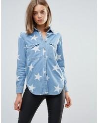 Chemise à étoiles bleu clair Glamorous