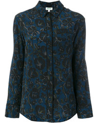 Chemise à fleurs bleu marine Kenzo