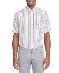 Chemise à manches courtes à carreaux bleu clair