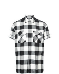 Chemise à manches courtes à carreaux noire et blanche