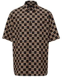 Chemise à manches courtes à carreaux noire Burberry