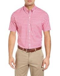 Chemise à manches courtes à carreaux rose