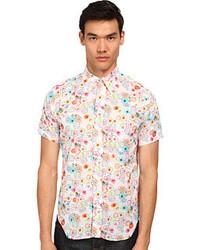 Chemise à manches courtes à fleurs beige
