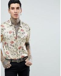 Chemise à manches courtes à fleurs beige ASOS DESIGN