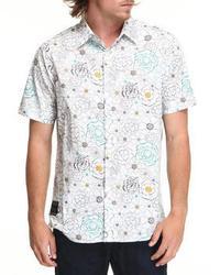 Chemise à manches courtes à fleurs blanc et bleu