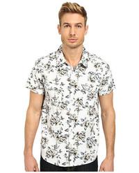 Chemise à manches courtes à fleurs blanche et noire