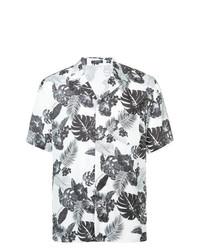 Chemise à manches courtes à fleurs blanche et noire Loveless