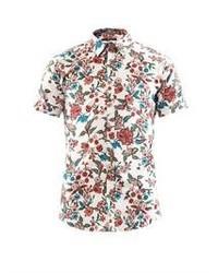 Chemise à manches courtes à fleurs blanche