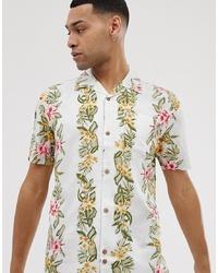 Chemise à manches courtes à fleurs blanche Bellfield