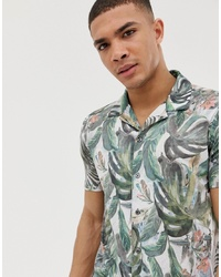 Chemise à manches courtes à fleurs blanche Burton Menswear