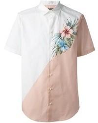 Chemise à manches courtes à fleurs blanche DSquared