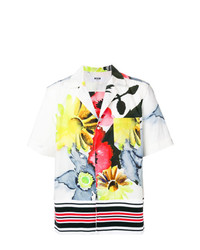 Chemise à manches courtes à fleurs blanche MSGM