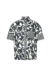 Chemise à manches courtes à fleurs blanche Yoshiokubo