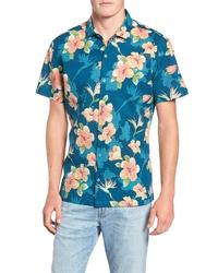 Chemise à manches courtes à fleurs bleu canard