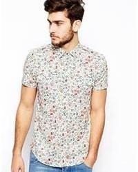 Chemise à manches courtes à fleurs bleu clair Antony Morato