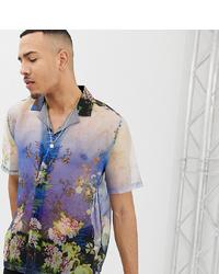 Chemise à manches courtes à fleurs bleu clair ASOS DESIGN