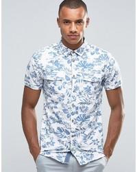 Chemise à manches courtes à fleurs bleu clair Blend of America