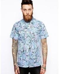 Chemise à manches courtes à fleurs bleu clair