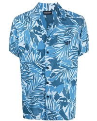 Chemise à manches courtes à fleurs bleu clair Emporio Armani