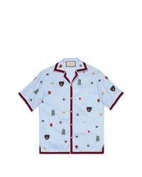 Chemise à manches courtes à fleurs bleu clair Gucci
