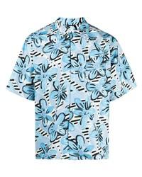 Chemise à manches courtes à fleurs bleu clair Marni