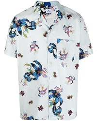 Chemise à manches courtes à fleurs bleu clair Paul Smith