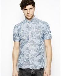 Chemise à manches courtes à fleurs bleu clair Pepe Jeans