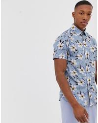 Chemise à manches courtes à fleurs bleu clair Ted Baker