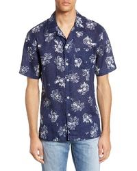 Chemise à manches courtes à fleurs bleu marine et blanc