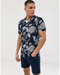 Chemise à manches courtes à fleurs bleu marine et blanc Burton Menswear