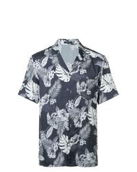 Chemise à manches courtes à fleurs bleu marine et blanc Loveless