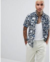 Chemise à manches courtes à fleurs bleu marine et blanc Vans